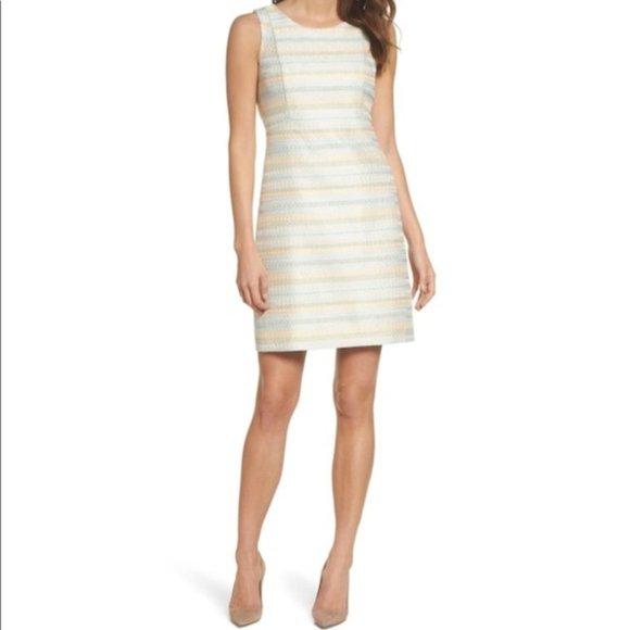 Eliza J Striped Sleeveless Sheath Dress Cream 16